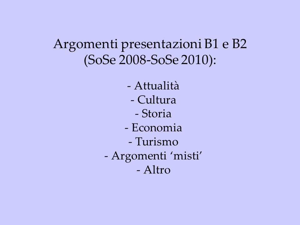 Argomenti presentazioni B1 e B2 (SoSe 2008-SoSe 2010):