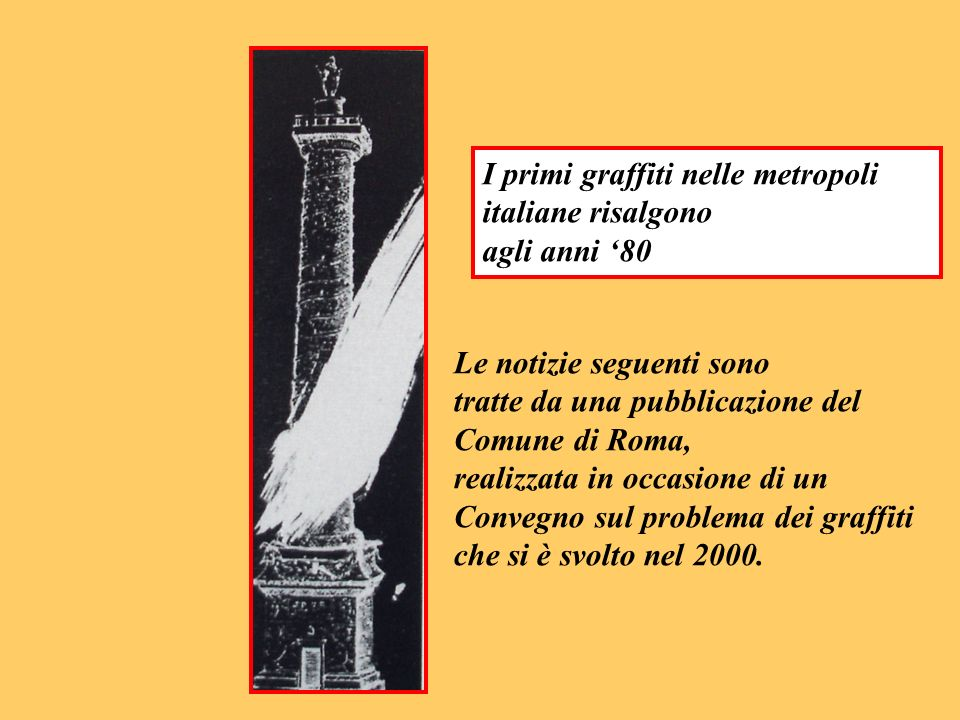 I primi graffiti nelle metropoli italiane risalgono