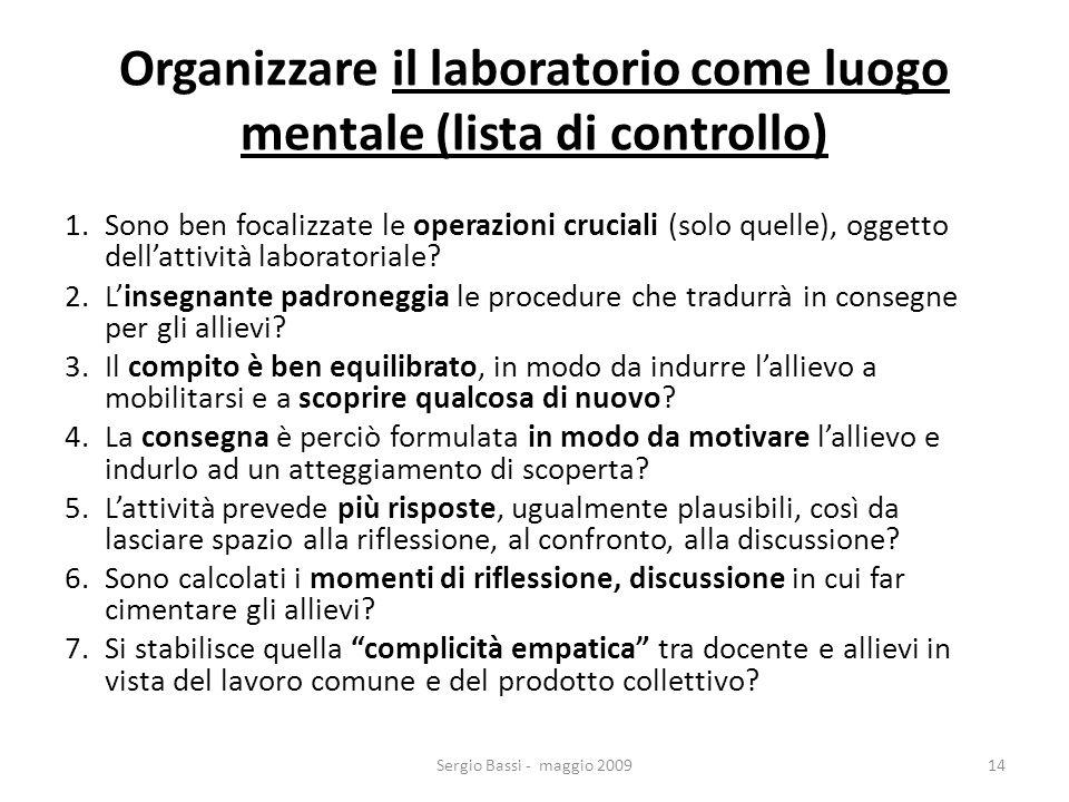 Organizzare il laboratorio come luogo mentale (lista di controllo)