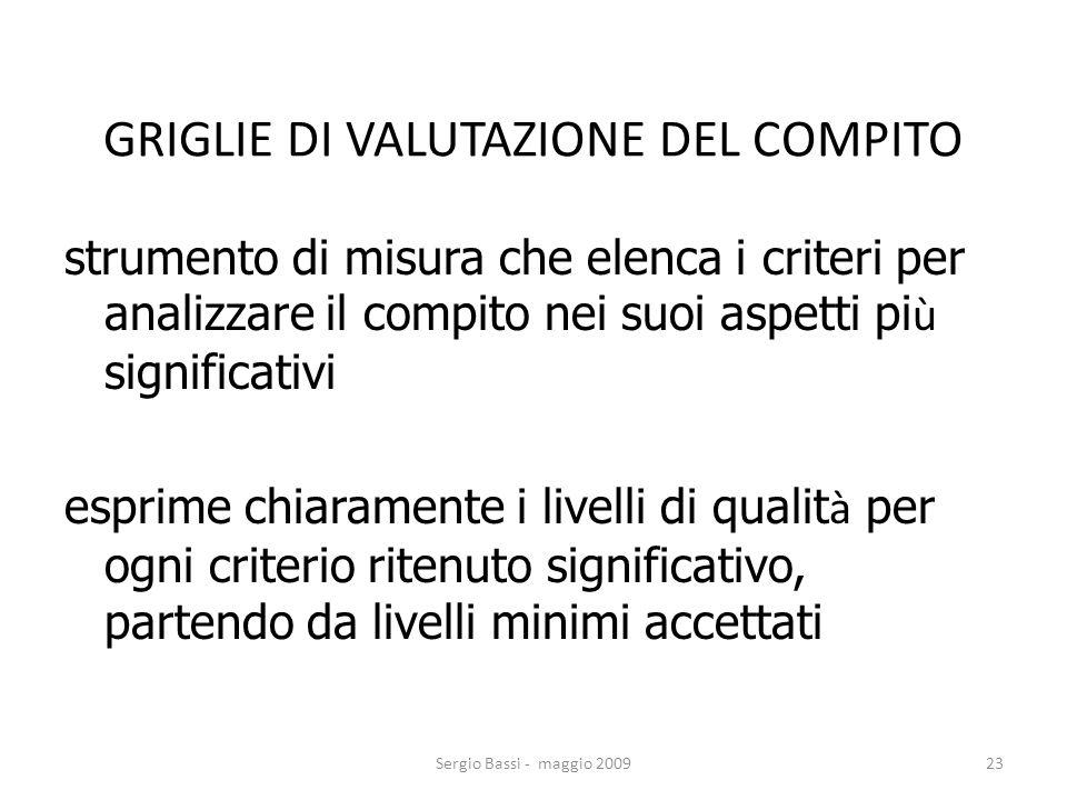 GRIGLIE DI VALUTAZIONE DEL COMPITO