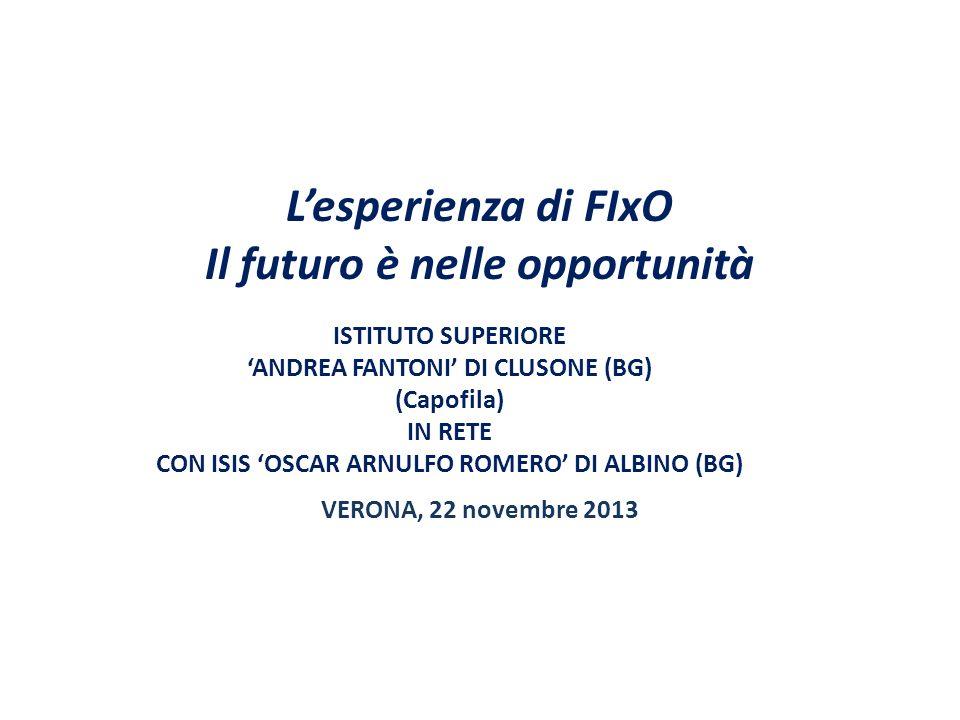 L'esperienza di FIxO Il futuro è nelle opportunità