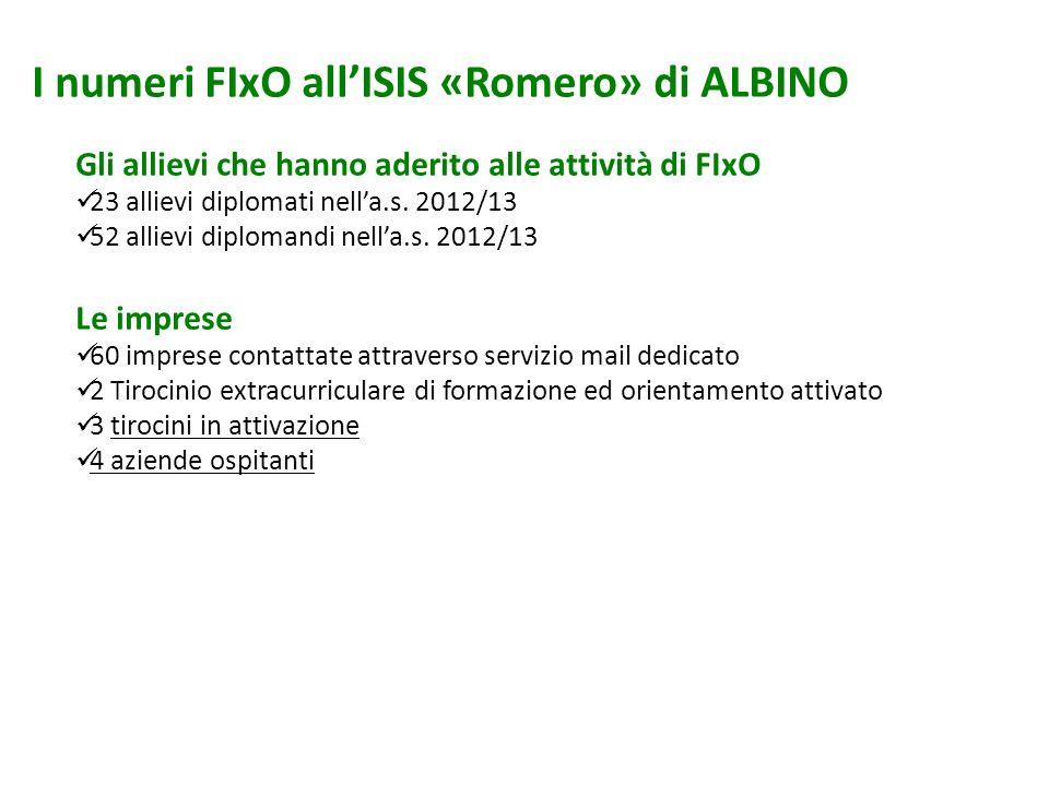 I numeri FIxO all'ISIS «Romero» di ALBINO