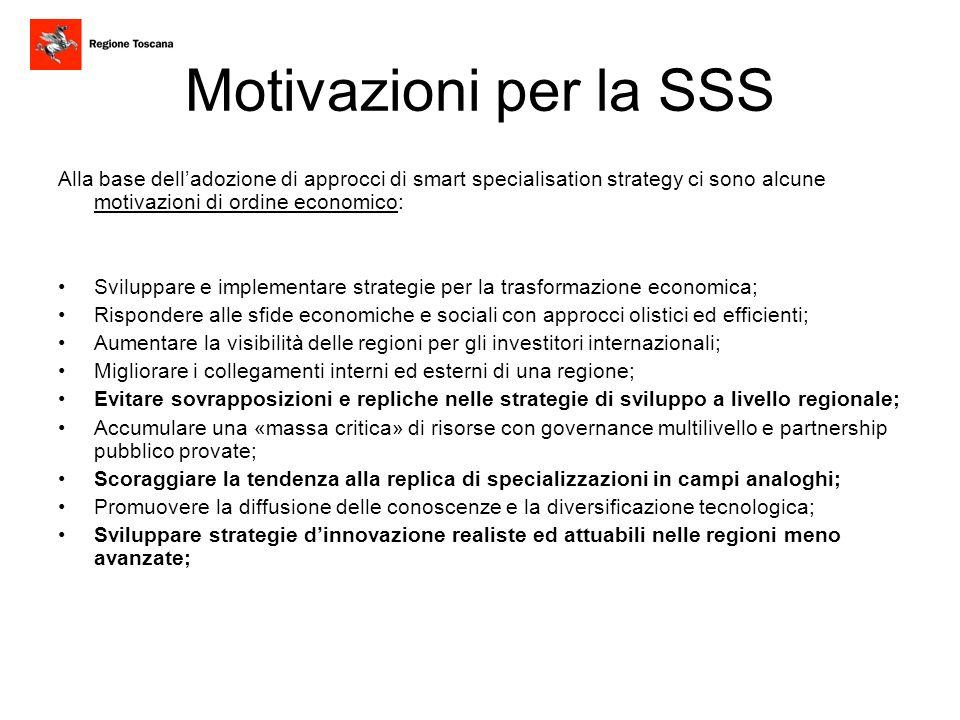 Motivazioni per la SSS Alla base dell'adozione di approcci di smart specialisation strategy ci sono alcune motivazioni di ordine economico: