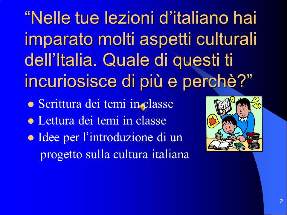 Nelle tue lezioni d'italiano hai imparato molti aspetti culturali dell'Italia. Quale di questi ti incuriosisce di più e perchè