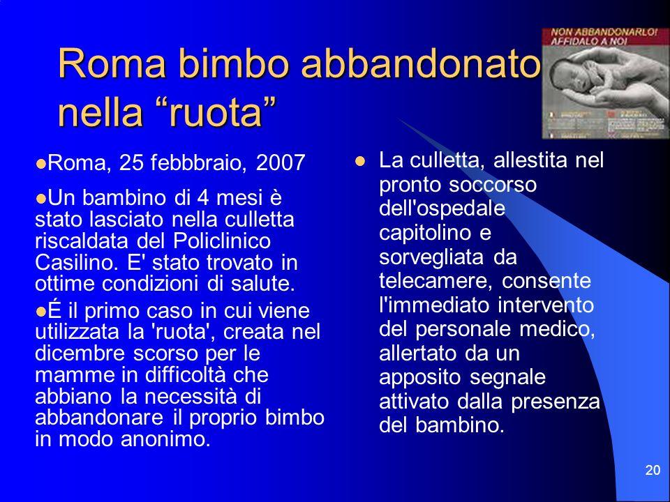 Roma bimbo abbandonato nella ruota