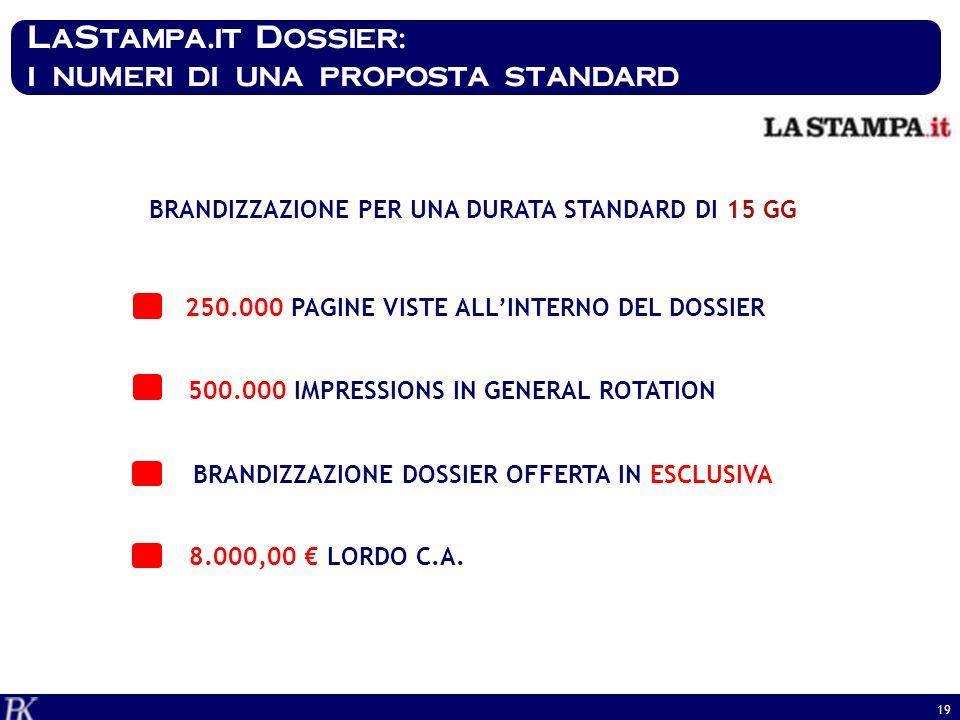 LaStampa.it Dossier: i numeri di una proposta standard