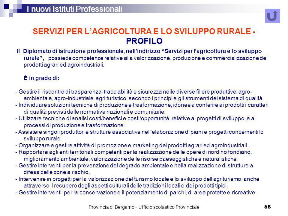 SERVIZI PER L'AGRICOLTURA E LO SVILUPPO RURALE - PROFILO