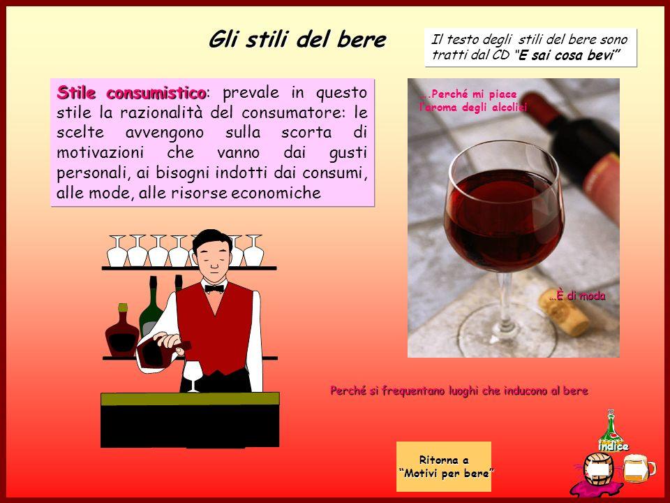 Gli stili del bere Il testo degli stili del bere sono tratti dal CD E sai cosa bevi