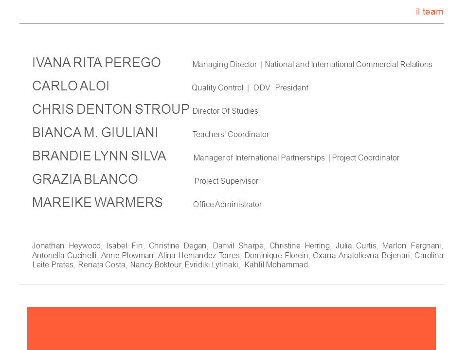 il team IVANA RITA PEREGO Managing Director | National and International Commercial Relations.