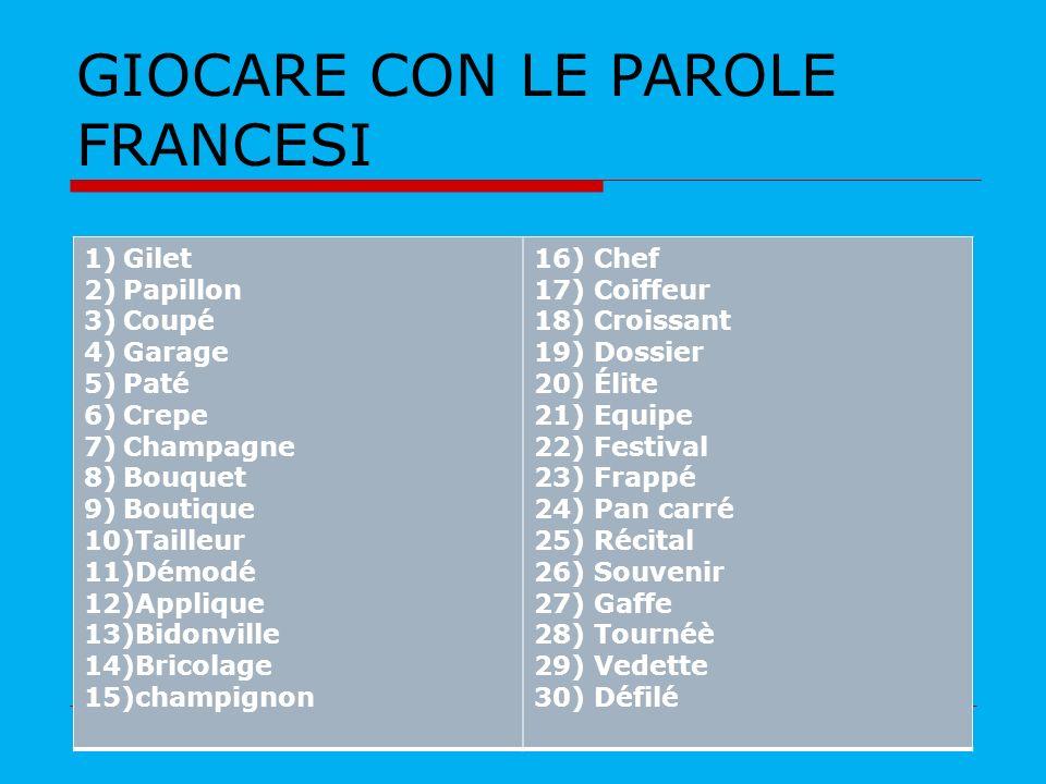 GIOCARE CON LE PAROLE FRANCESI