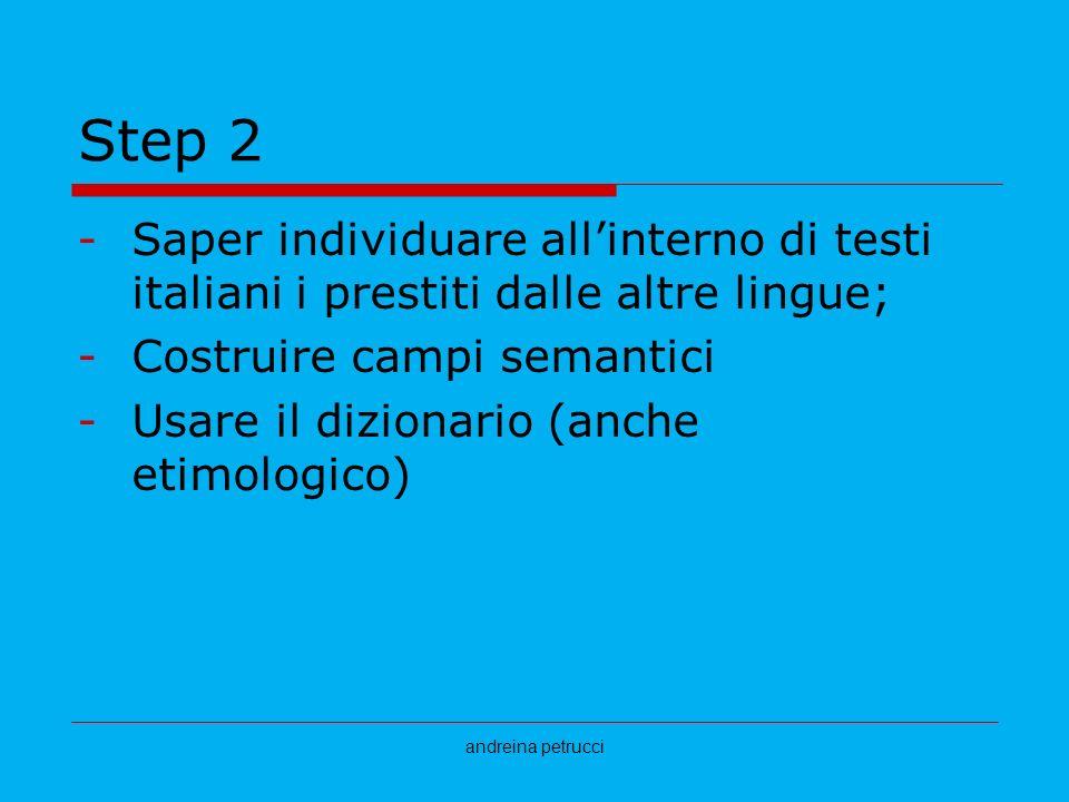Step 2Saper individuare all'interno di testi italiani i prestiti dalle altre lingue; Costruire campi semantici.