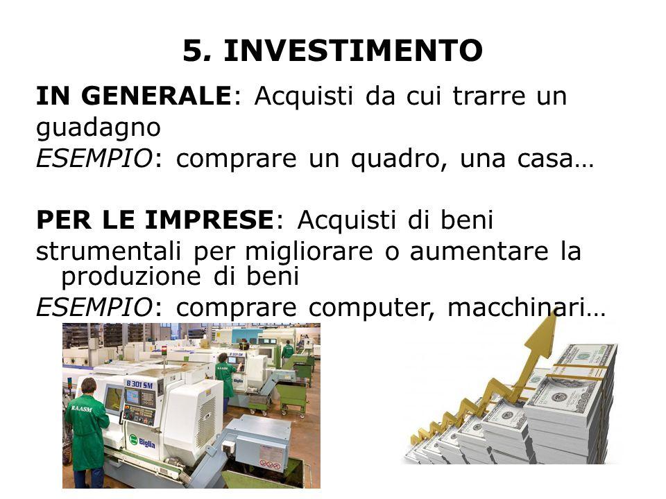 5. INVESTIMENTO IN GENERALE: Acquisti da cui trarre un guadagno