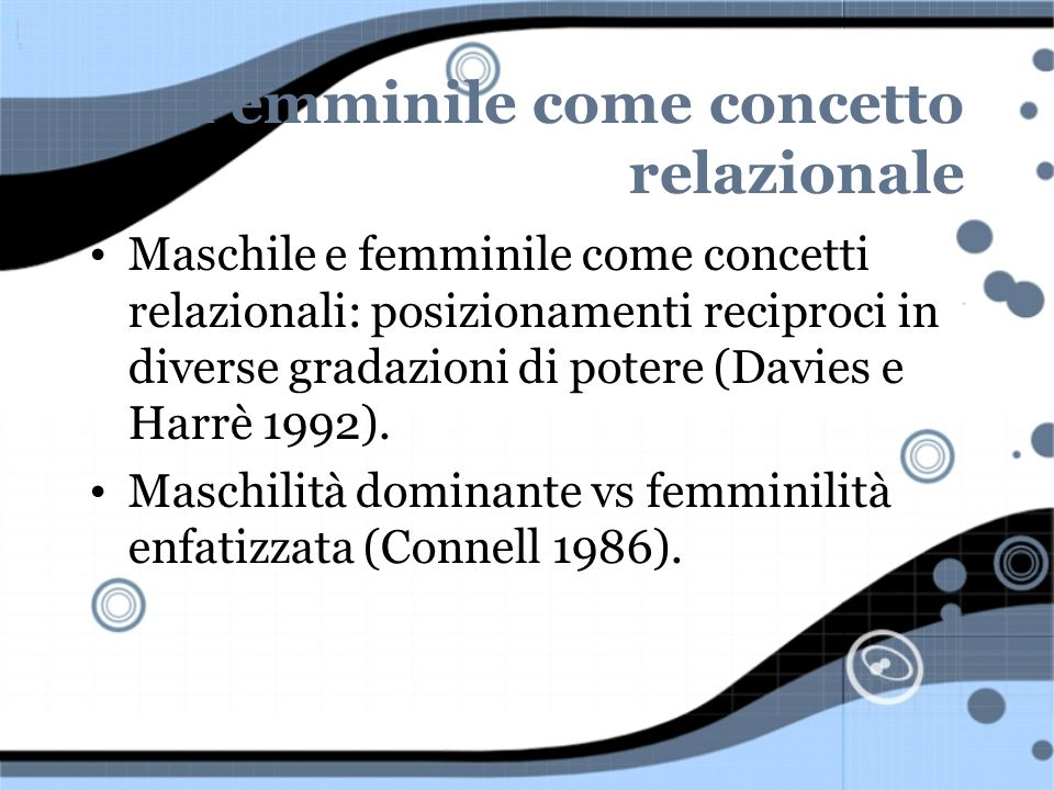Femminile come concetto relazionale