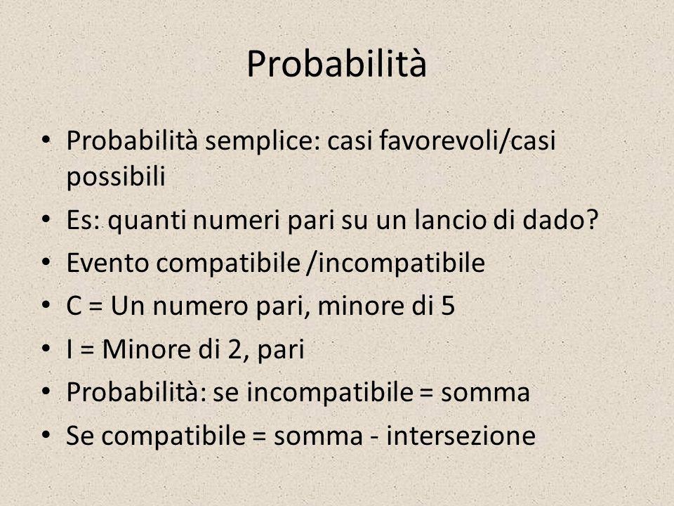 Probabilità Probabilità semplice: casi favorevoli/casi possibili
