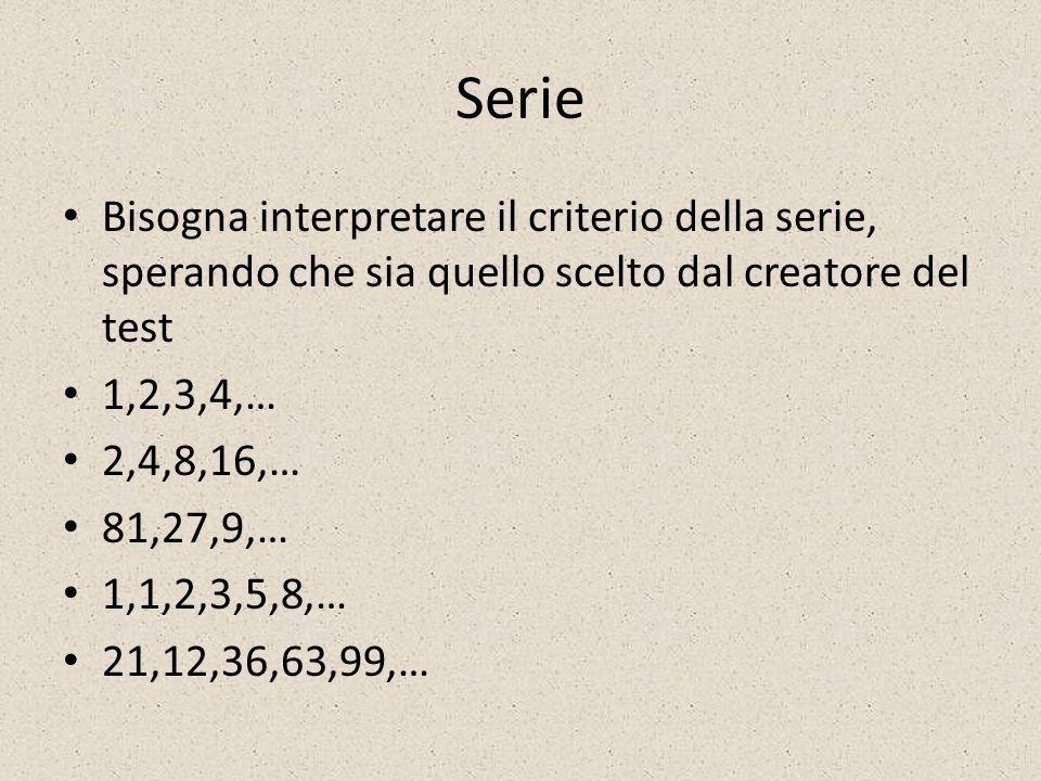 Serie Bisogna interpretare il criterio della serie, sperando che sia quello scelto dal creatore del test.