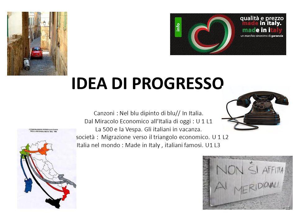IDEA DI PROGRESSO Canzoni : Nel blu dipinto di blu// In Italia.