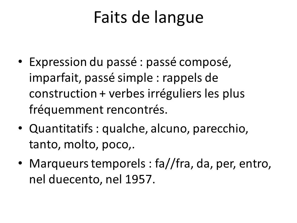 Faits de langue