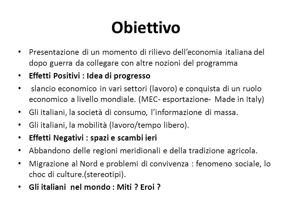Obiettivo Presentazione di un momento di rilievo dell'economia italiana del dopo guerra da collegare con altre nozioni del programma.