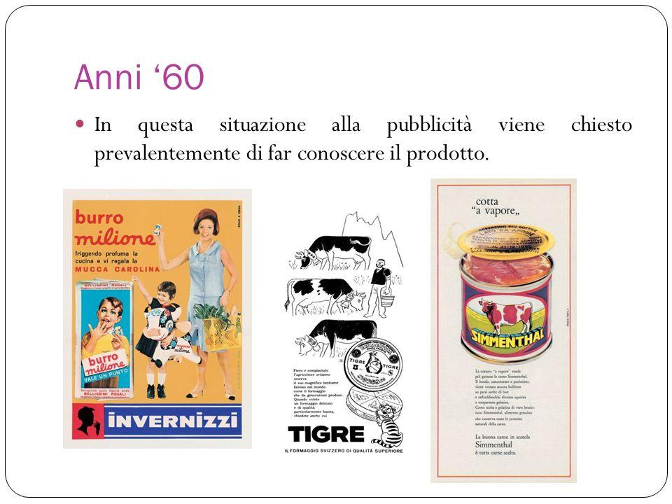 Anni '60 In questa situazione alla pubblicità viene chiesto prevalentemente di far conoscere il prodotto.