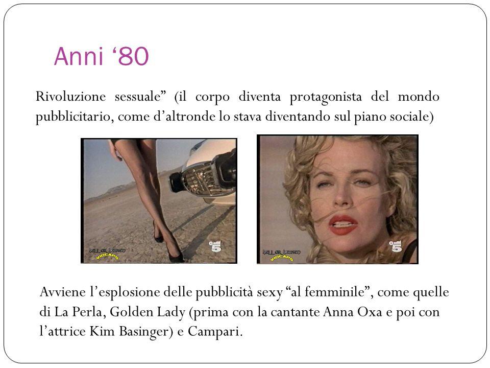 Anni '80 Rivoluzione sessuale (il corpo diventa protagonista del mondo pubblicitario, come d'altronde lo stava diventando sul piano sociale)