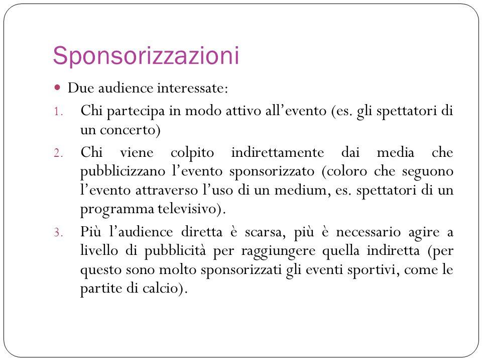 Sponsorizzazioni Due audience interessate: