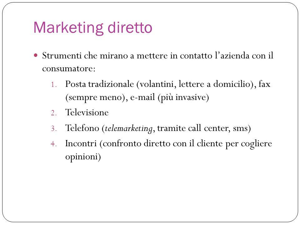 Marketing diretto Strumenti che mirano a mettere in contatto l'azienda con il consumatore: