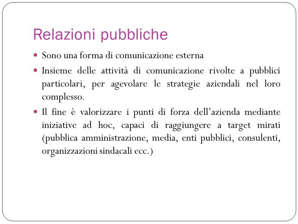 Relazioni pubbliche Sono una forma di comunicazione esterna