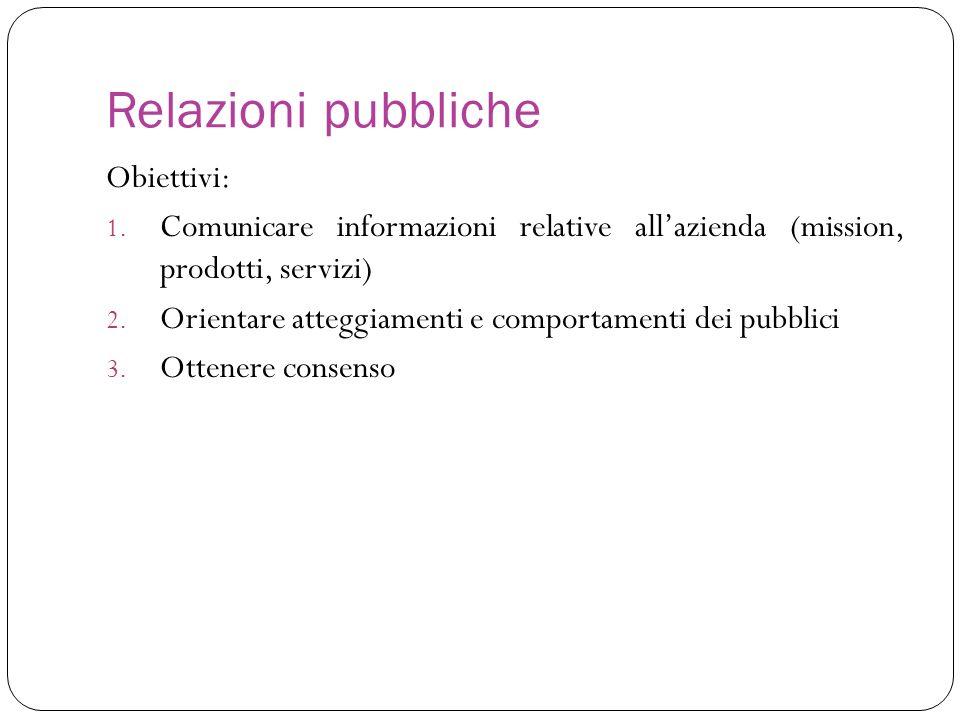 Relazioni pubbliche Obiettivi: