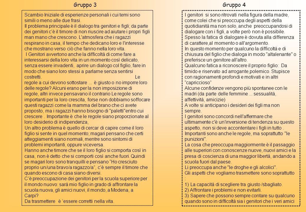 Gruppo 3 Gruppo 4. Scambio Iniziale di esperienze personali i cui temi sono simili o meno alle due frasi.