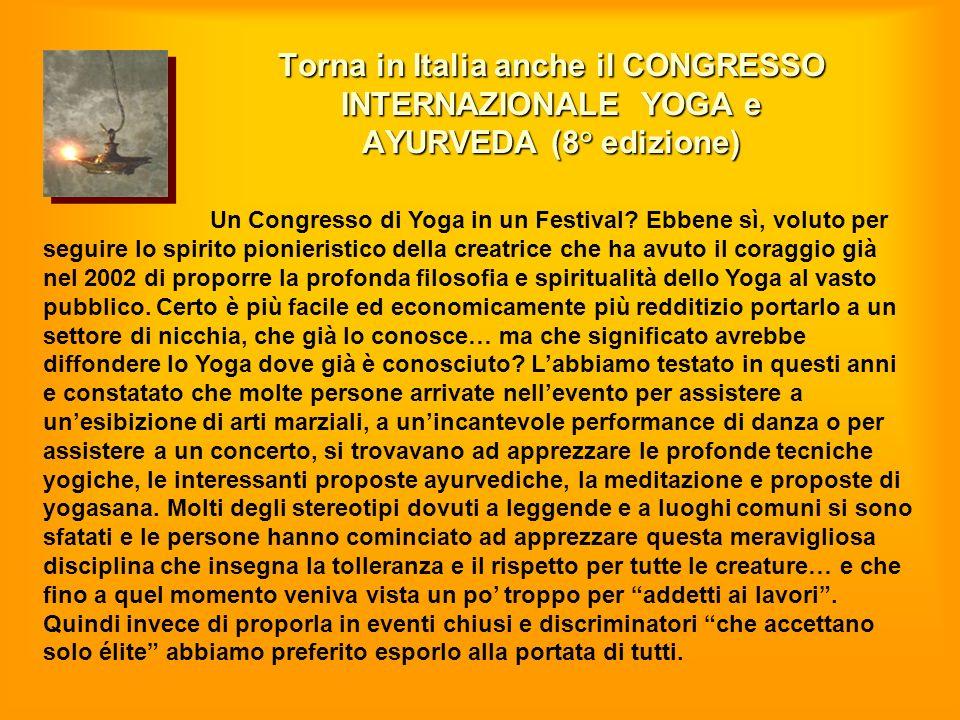 Torna in Italia anche il CONGRESSO INTERNAZIONALE YOGA e AYURVEDA (8° edizione)