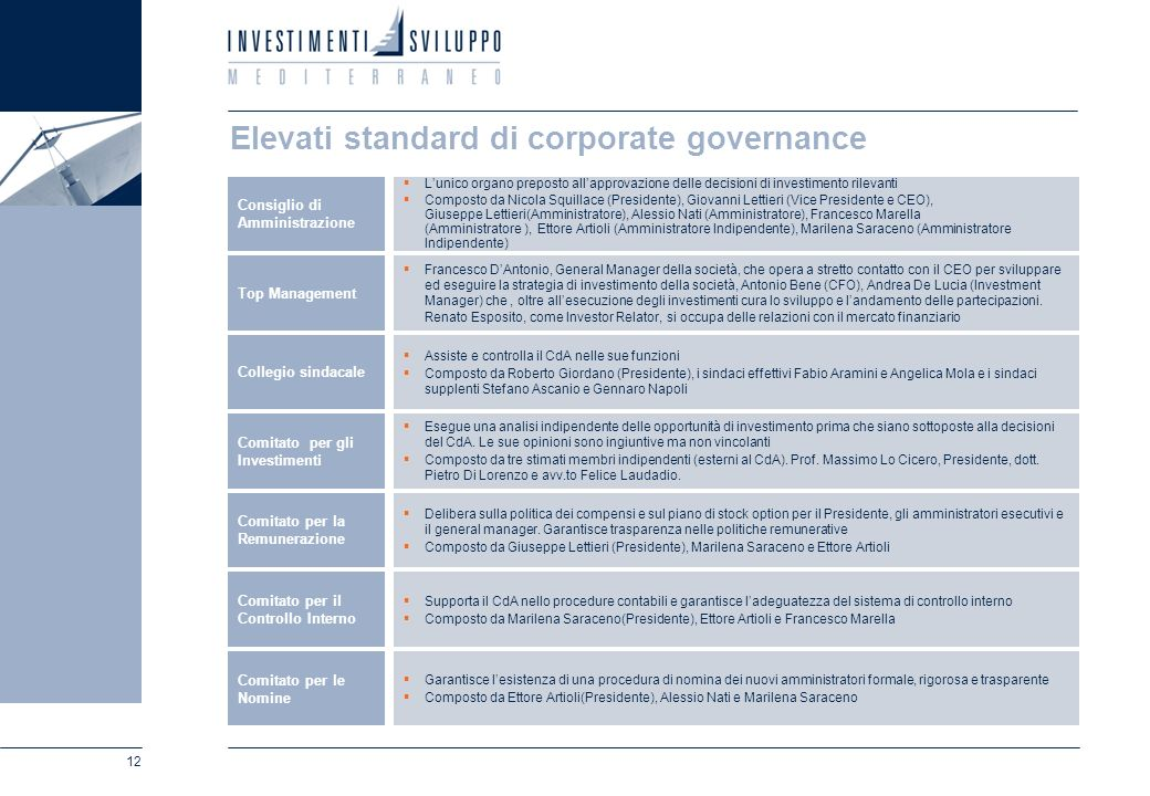 Elevati standard di corporate governance