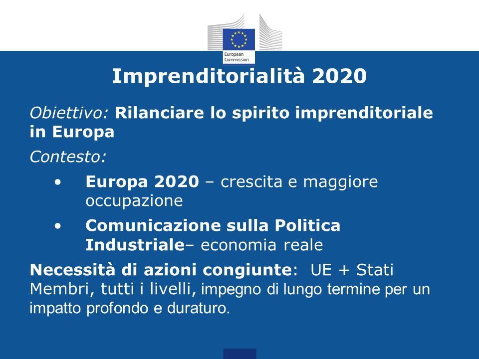 Imprenditorialità 2020Obiettivo: Rilanciare lo spirito imprenditoriale in Europa. Contesto: Europa 2020 – crescita e maggiore occupazione.
