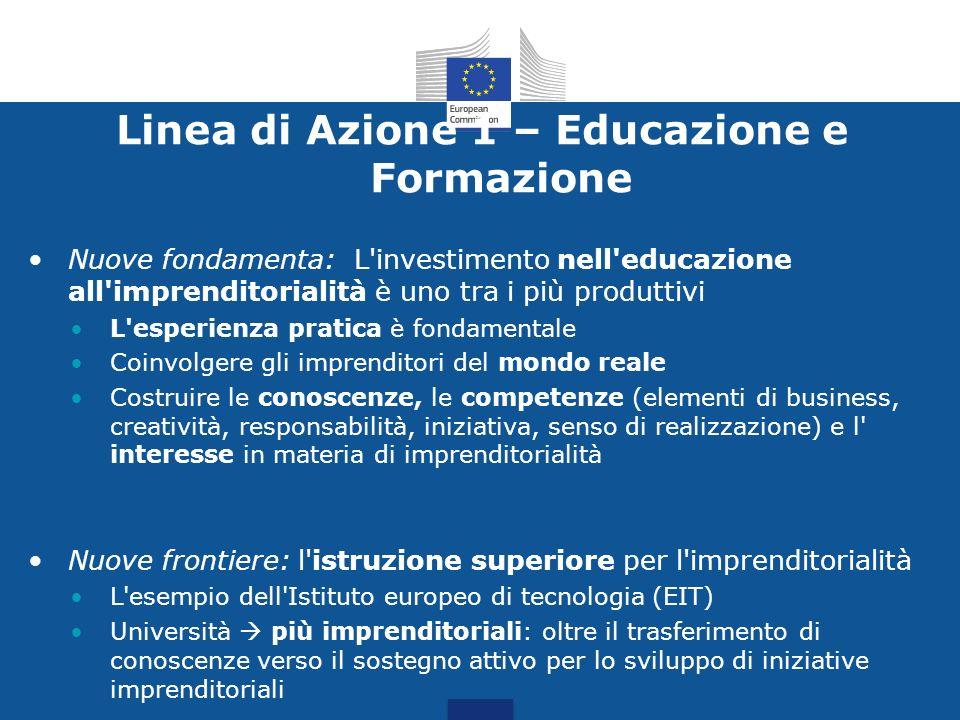 Linea di Azione 1 – Educazione e Formazione