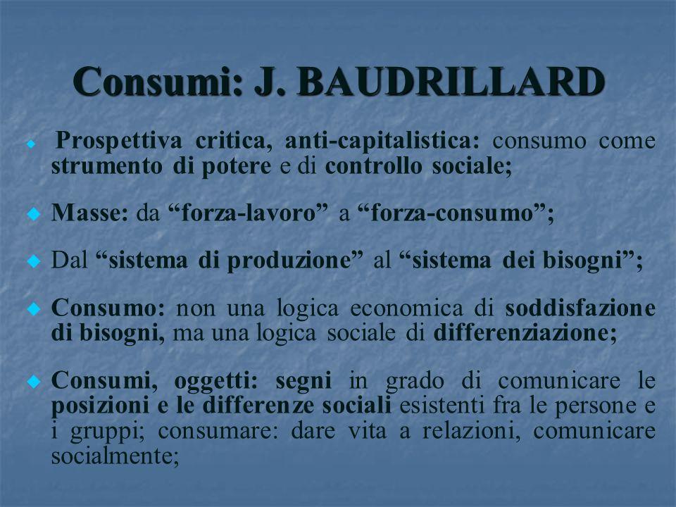 Consumi: J. BAUDRILLARD