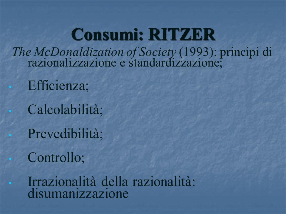 Consumi: RITZER Efficienza; Calcolabilità; Prevedibilità; Controllo;