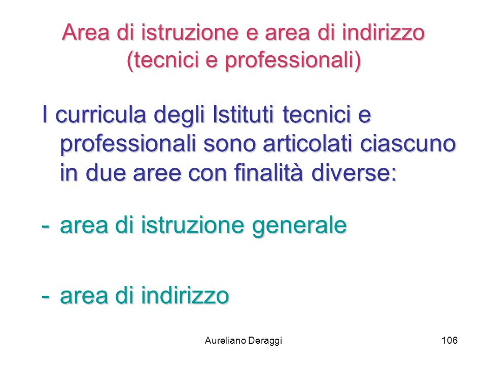 Area di istruzione e area di indirizzo (tecnici e professionali)