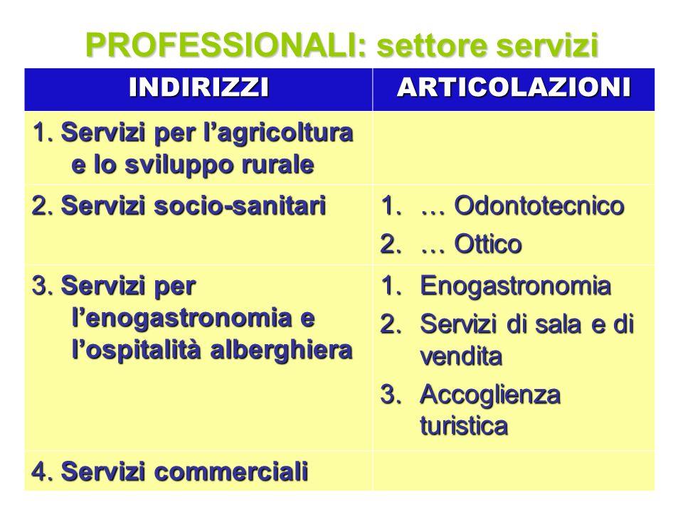 PROFESSIONALI: settore servizi