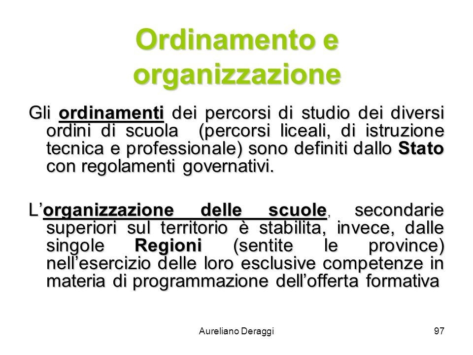 Ordinamento e organizzazione