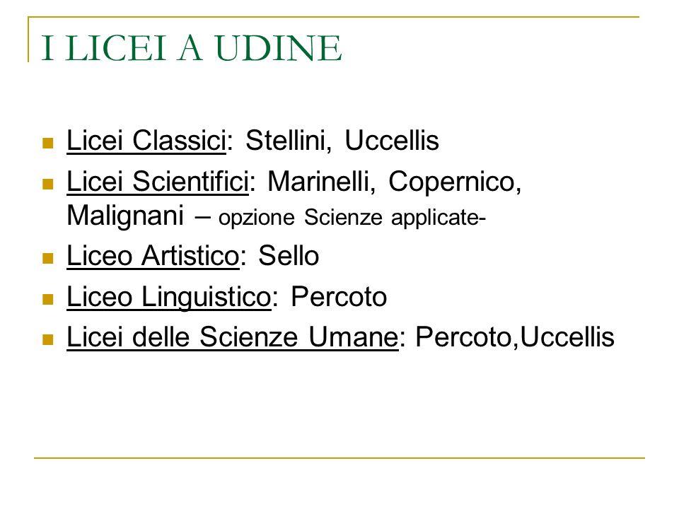 I LICEI A UDINE Licei Classici: Stellini, Uccellis
