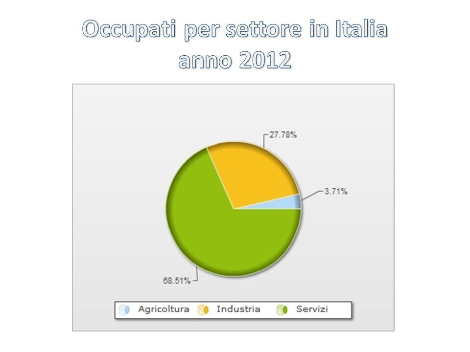 Occupati per settore in Italia anno 2012