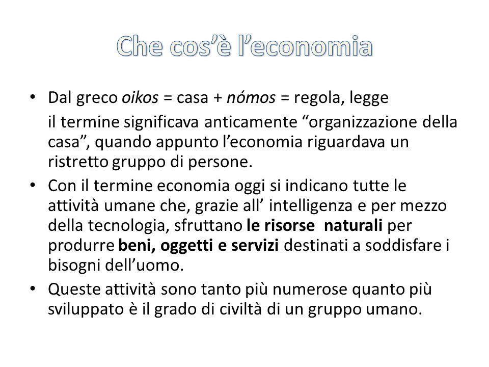 Che cos'è l'economia Dal greco oikos = casa + nómos = regola, legge