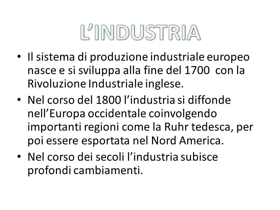 L'INDUSTRIA Il sistema di produzione industriale europeo nasce e si sviluppa alla fine del 1700 con la Rivoluzione Industriale inglese.