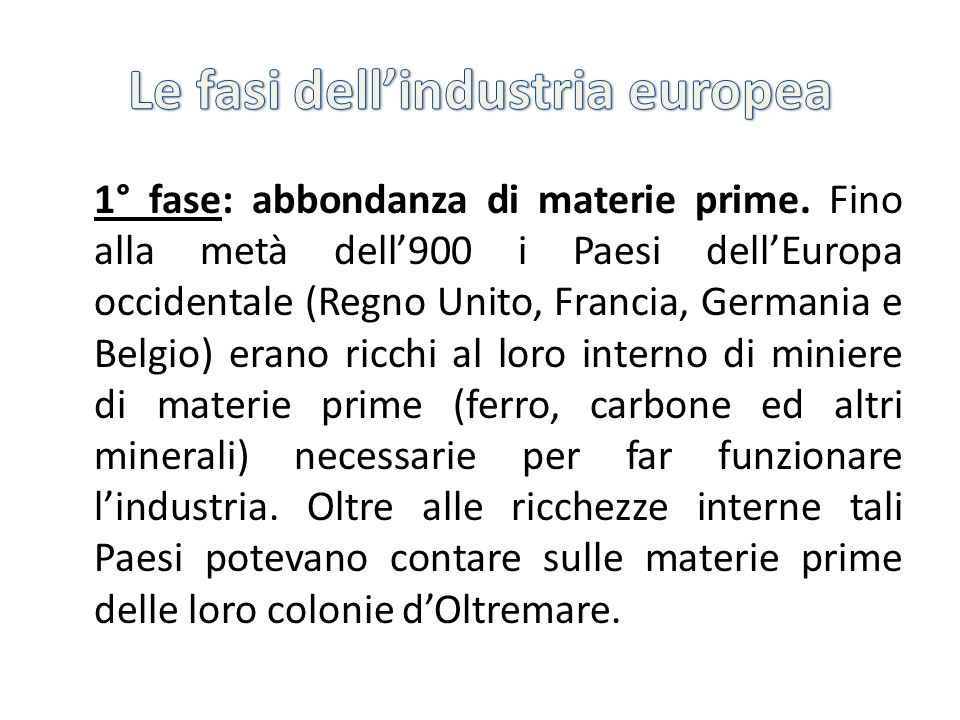 Le fasi dell'industria europea