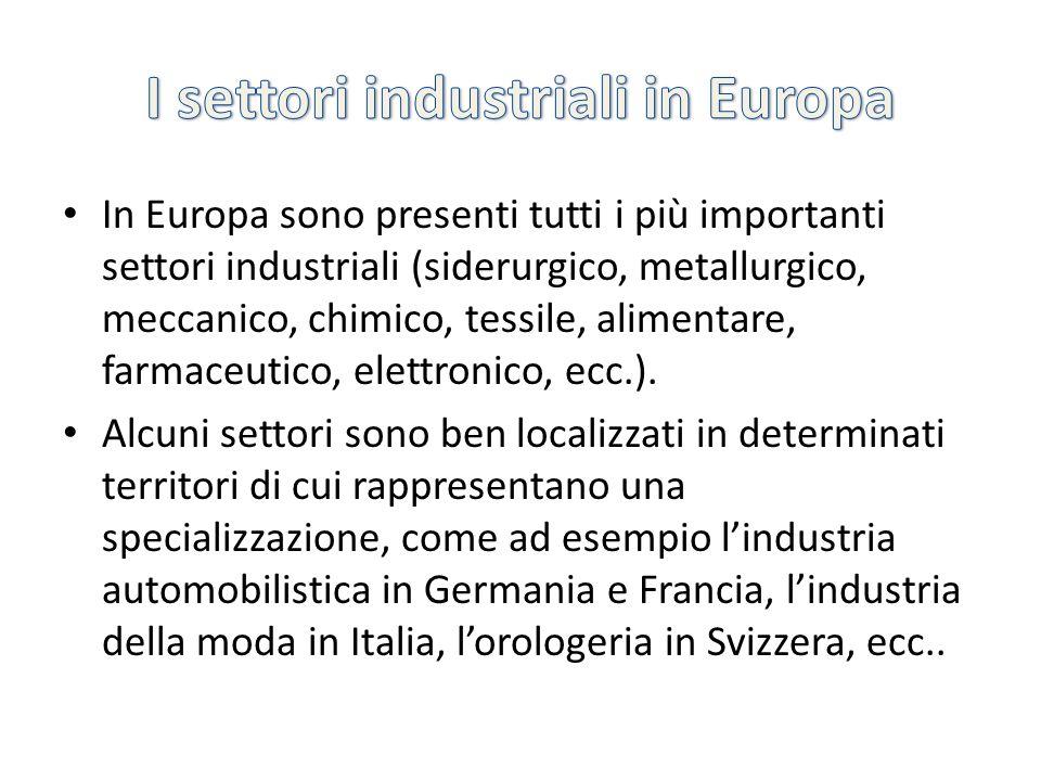 I settori industriali in Europa