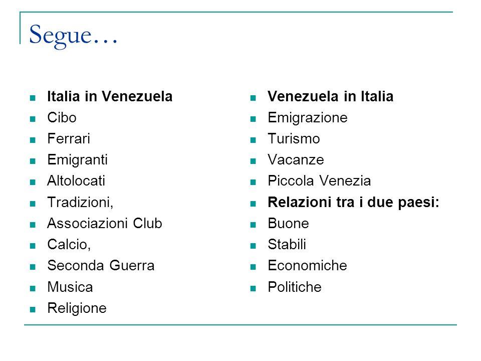 Segue… Italia in Venezuela Cibo Ferrari Emigranti Altolocati