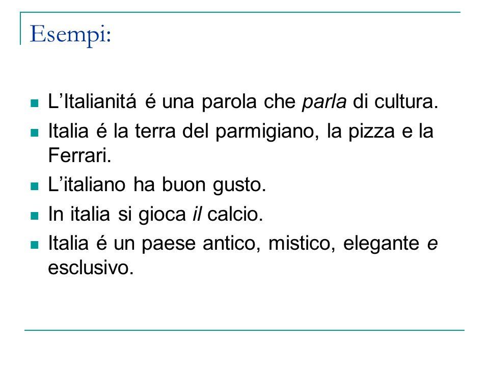 Esempi: L'Italianitá é una parola che parla di cultura.