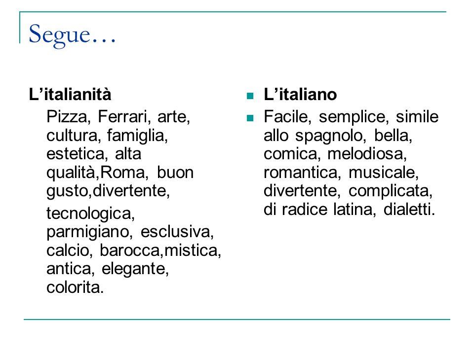 Segue… L'italianità. Pizza, Ferrari, arte, cultura, famiglia, estetica, alta qualità,Roma, buon gusto,divertente,
