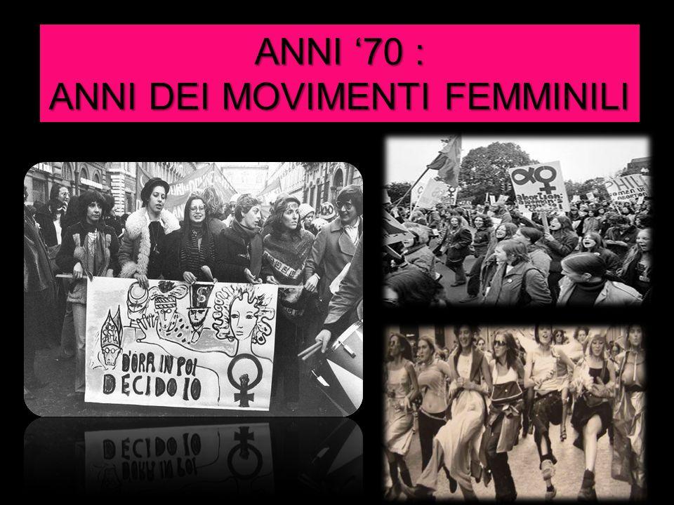 ANNI DEI MOVIMENTI FEMMINILI
