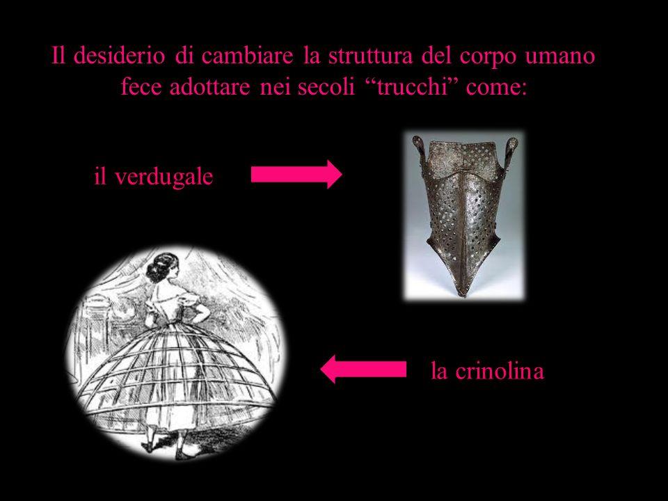 Il desiderio di cambiare la struttura del corpo umano fece adottare nei secoli trucchi come: