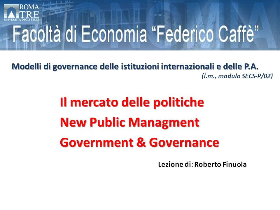 Il mercato delle politiche New Public Managment